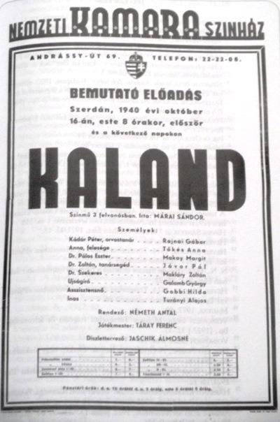 Korabeli plakát (fotó: Magyar színháztörténet 1920-1949)