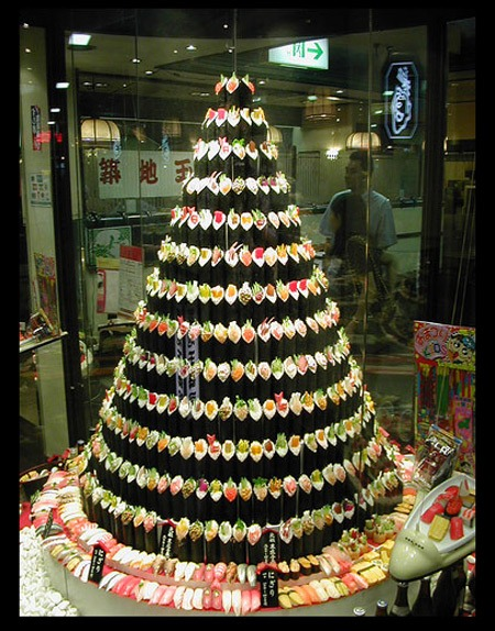 Sushi karácsonyfa