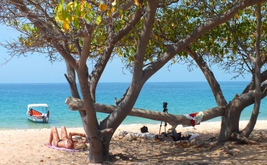 A Mochima Nemzeti Park egyik legszebb partja Isla Caracason található