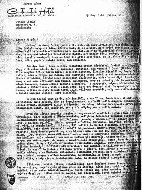 Móricz Pataky Lászlóval folytatott levelezést éveken át