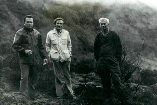 Dr. Peña Matheus, Stanley Hall és Móricz János az 1975-ös ismerkedő expedíción