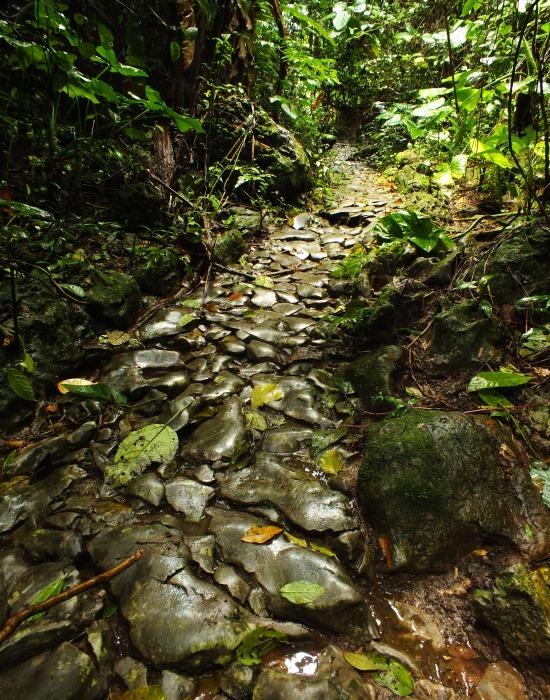 Egy rövid szakasz, ahol a köveket a helyén hagyták