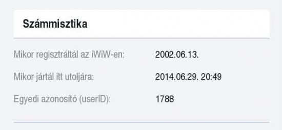 Az iWiW-es adatlapom egy részlete: az 1788. user voltam 2002-ben...