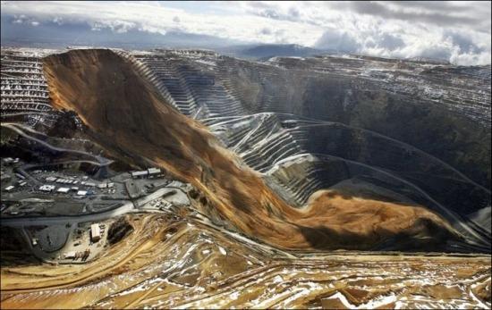 A világ érdekes bánya rezbanya külszíni fejtés földcsuszamlás Óriás legnagyobb lyuk
