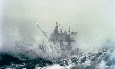 Olajkitermelő platform az Északi-tengeren