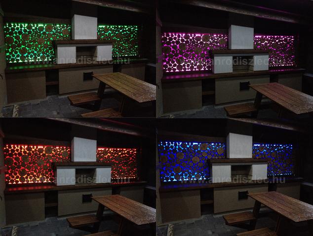 Kerti filagória hátfala színváltós LED világítással