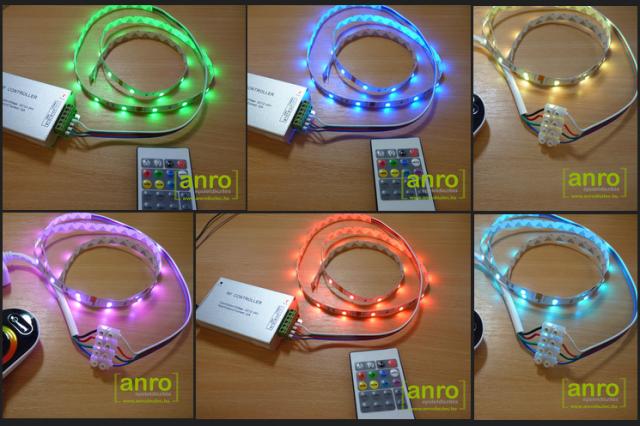 5050-030 SMD RGB LED szalag beüzemelve: zöld, kék, piros, pink, fehér színű fénnyel is világíthatunk!
